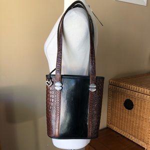 Brighton Leather Black Brown Shoulder Bag Purse
